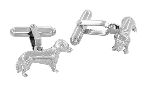 Dachshund Cufflinks in Sterling Silver - Item: SCL233W - Image: 1
