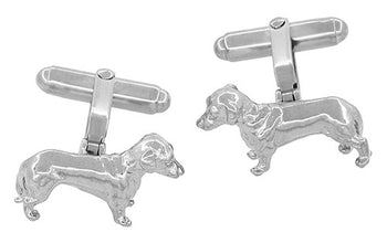 Dachshund Cufflinks in Sterling Silver