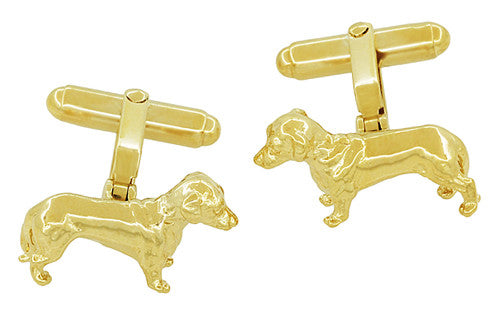 Yellow Gold Plated Solid Sterling Silver Dachshund Cufflinks