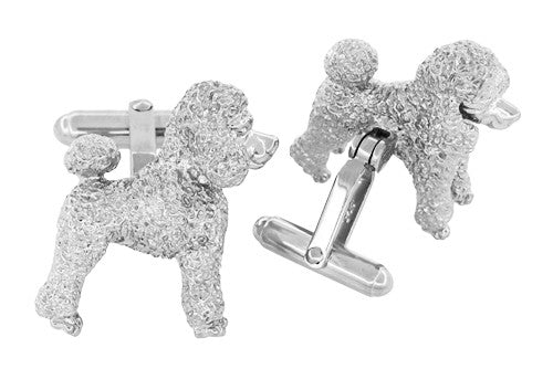 Poodle Cufflinks in Sterling Silver - Item: SCL234W - Image: 2
