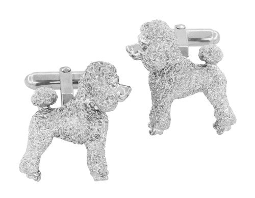 Poodle Cufflinks in Sterling Silver - Item: SCL234W - Image: 3