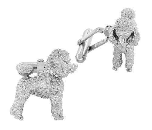 Poodle Cufflinks in Sterling Silver - Item: SCL234W - Image: 1