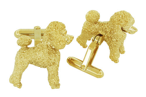 Poodle Cufflinks in Sterling Silver with Yellow Gold Finish - Item: SCL234Y - Image: 2