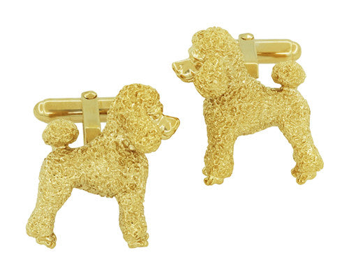 Poodle Cufflinks in Sterling Silver with Yellow Gold Finish - Item: SCL234Y - Image: 3