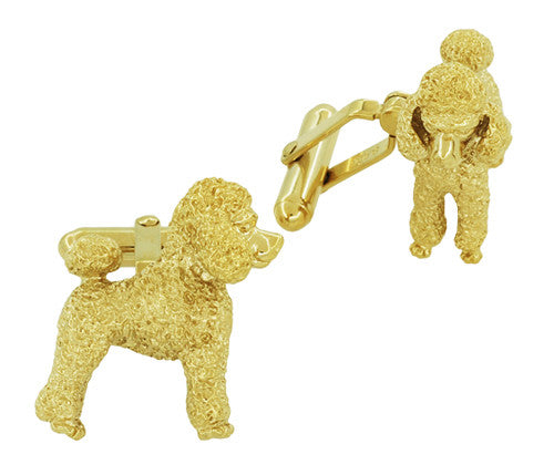 Poodle Cufflinks in Sterling Silver with Yellow Gold Finish - Item: SCL234Y - Image: 1