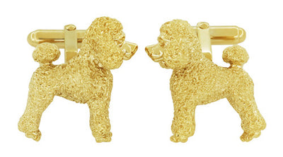 Poodle Cufflinks in Sterling Silver with Yellow Gold Finish