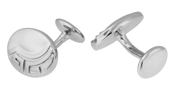 Vintage Design Greek Key Engravable Art Deco Cufflinks in Sterling Silver - Item: SCL235W - Image: 1