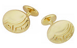 Greek Key Engravable Art Deco Cufflinks in Solid Sterling Silver with Yellow Gold Vermeil