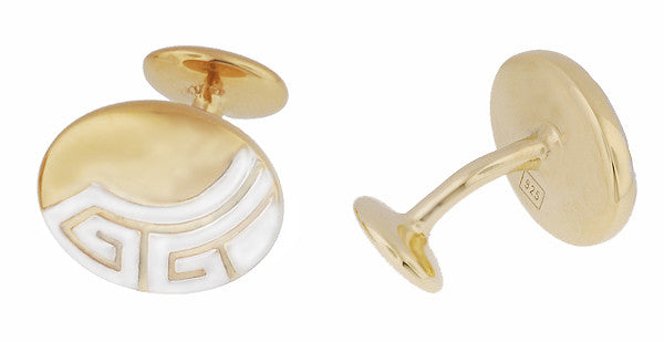 Art Deco Greek Key Engravable Cufflinks in Solid Sterling Silver with a Two-Tone Yellow Gold & Rhodium Finish - Item: SCL235YW - Image: 1