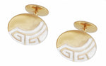 Art Deco Greek Key Engravable Cufflinks in Solid Sterling Silver with a Two-Tone Yellow Gold & Rhodium Finish