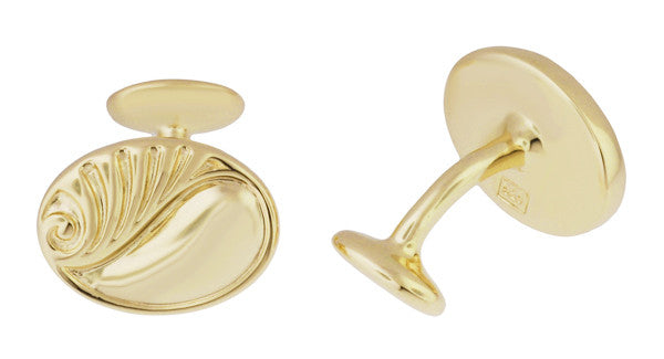 Retro Moderne Scroll Waves Engravable Cufflinks in Sterling Silver with Yellow Gold Vermeil - Item: SCL236Y - Image: 1