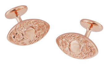Victorian Floral Lozenge Shape Engravable Rose Gold Cufflinks in Sterling Silver Vermeil