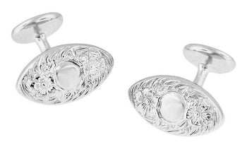 Victorian Floral Lozenge Shape Engravable Cufflinks in Sterling Silver
