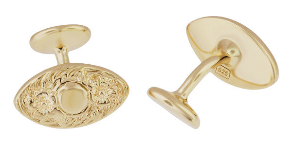 Vintage Victorian Floral Lozenge Shape Engravable Cufflinks Design in Solid Sterling Silver with Yellow Gold Vermeil - Item: SCL237Y - Image: 1