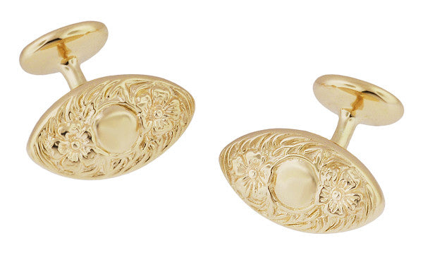 Vintage Victorian Floral Lozenge Shape Engravable Cufflinks Design in Solid Sterling Silver with Yellow Gold Vermeil