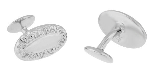 Victorian Scrolls Engravable Cufflinks in Sterling Silver - Item: SCL238W - Image: 1