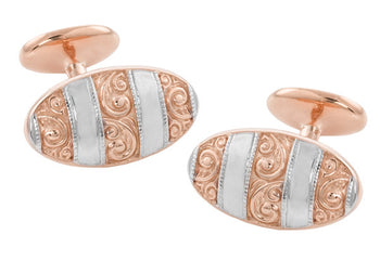 Victorian Engraved Scrolls Vintage Cufflinks in Sterling Silver with Rose Gold Two Tone Vermeil