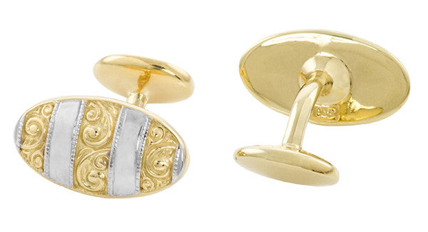 Antique Style Victorian Scrolls Cufflinks in Sterling Silver with Yellow Gold Two Tone Vermeil - Item: SCL239WY - Image: 1