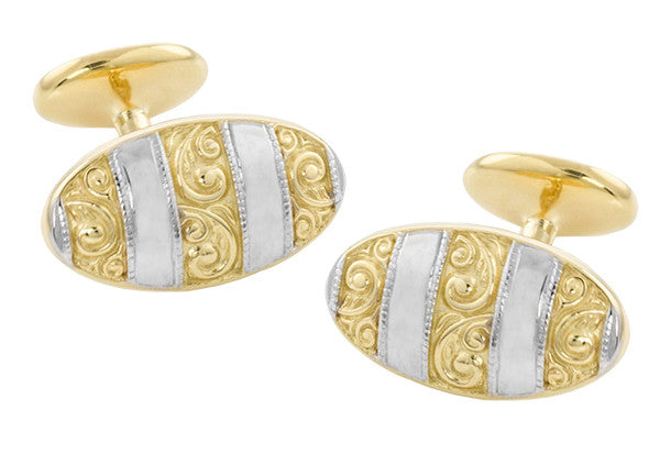 Antique Style Victorian Scrolls Cufflinks in Sterling Silver with Yellow Gold Two Tone Vermeil