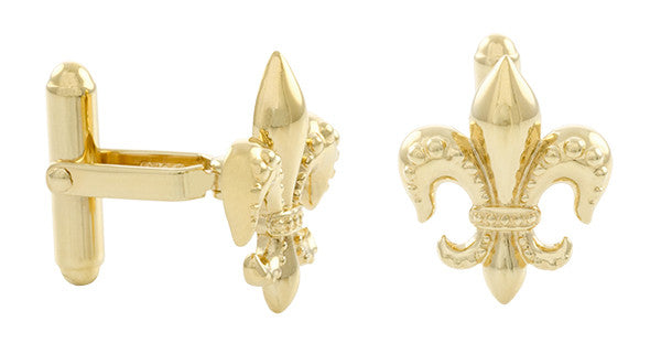 Fleur De Lis Cufflinks with Yellow Gold Finish in Solid Sterling Silver - Item: SCL240Y - Image: 1