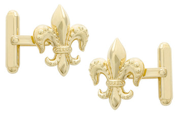 Fleur De Lis Cufflinks with Yellow Gold Finish in Solid Sterling Silver