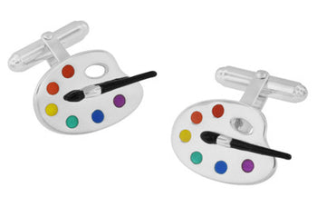 Enameled Paint Palette and Brush Painters Cufflinks in Sterling Silver