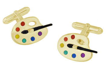Enameled Painters Paint Palette and Brush Cufflinks in Sterling Silver with Yellow Gold Vermeil