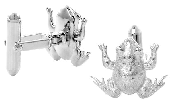 Lucky Frog Cufflinks in Sterling Silver - Item: SCL245W - Image: 1