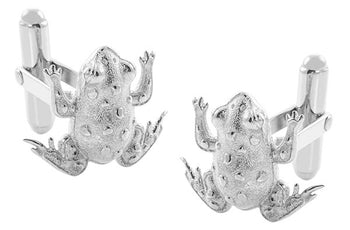 Lucky Frog Cufflinks in Sterling Silver