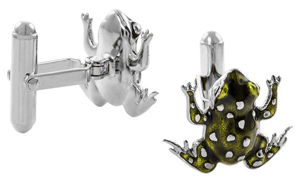 French Champleve Enamel Frog Cufflinks in Sterling Silver - Item: SCL245WE - Image: 1