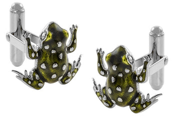 French Champleve Enamel Frog Cufflinks in Sterling Silver