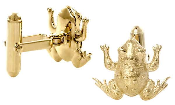 Frog Cufflinks in Solid Sterling Silver with Yellow Gold Vermeil Finish - Item: SCL245Y - Image: 1