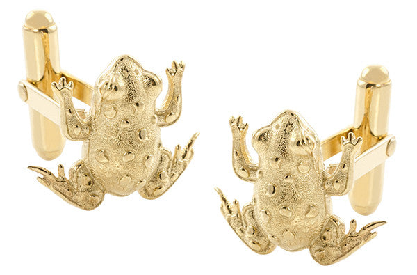 Frog Cufflinks in Solid Sterling Silver with Yellow Gold Vermeil Finish