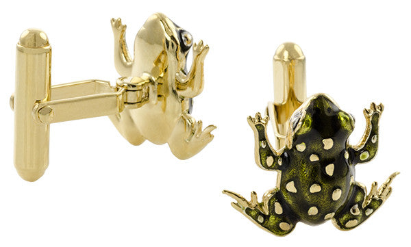 Frog Cufflinks with Elegant French Champleve Enamel in Solid Sterling Silver with Yellow Gold Vermeil Finish - Item: SCL245YE - Image: 1