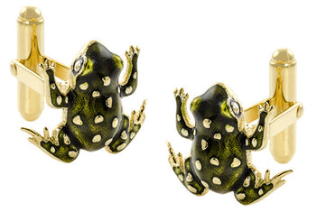Frog Cufflinks with Elegant French Champleve Enamel in Solid Sterling Silver with Yellow Gold Vermeil Finish