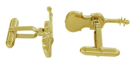 Violin Cufflinks in Sterling Silver with Yellow Gold Finish - Item: SCL247Y - Image: 1