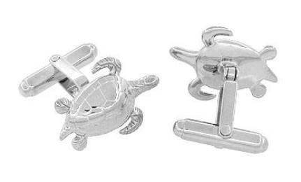 Sea Turtle Cufflinks in Sterling Silver - Item: SCL133 - Image: 1
