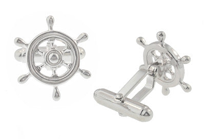 Ship's Wheel Nautical Cufflinks in Solid Sterling Silver - Item: SCL112 - Image: 1