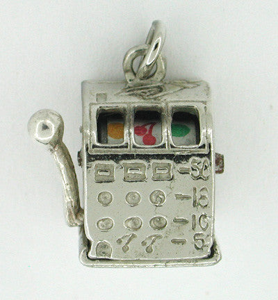 Slot Machine Movable Sterling Silver Charm