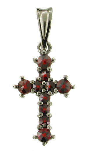 Small Victorian Bohemian Garnet Cross Pendant in Antiqued Sterling Silver