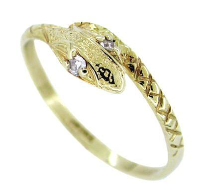 Vintage Snake Ring with Diamond Eyes in 14 Karat Gold