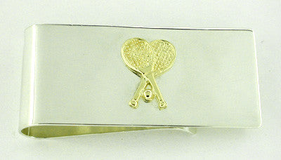Sterling Silver Money Clip with 14 Karat Solid Gold Tennis Racket Accent