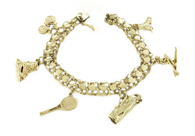 Sports Theme Charm Bracelet in 14 Karat Yellow Gold