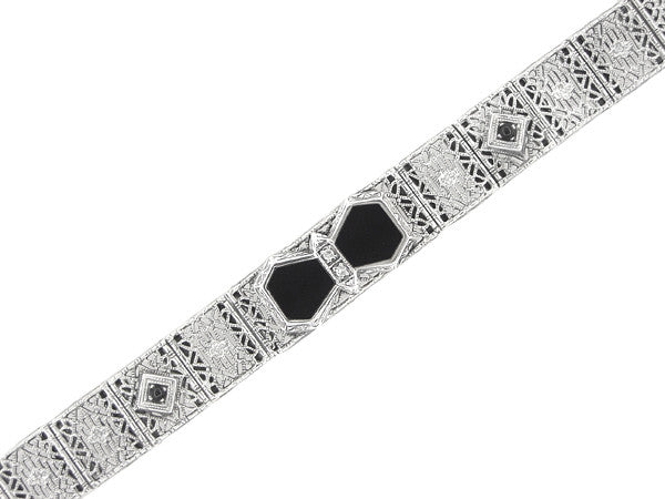 Art Deco Onyx and Diamond Filigree Bracelet in Sterling Silver - Item: SSBR10 - Image: 2