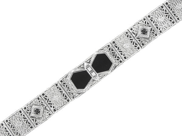 Art Deco Onyx and Diamond Filigree Bracelet in Sterling Silver