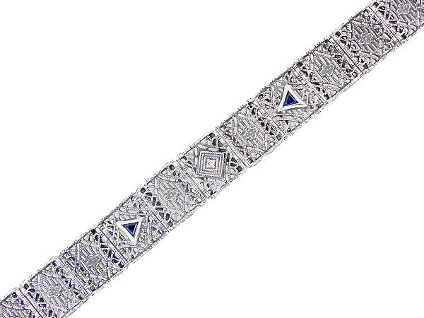 Art Deco Filigree Diamond and Sapphire Bracelet in Sterling Silver - Item: SSBR11 - Image: 2