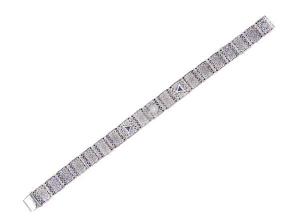Art Deco Filigree Diamond and Sapphire Bracelet in Sterling Silver - Item: SSBR11 - Image: 1