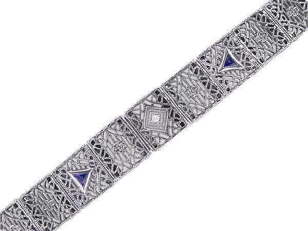 Art Deco Filigree Diamond and Sapphire Bracelet in Sterling Silver