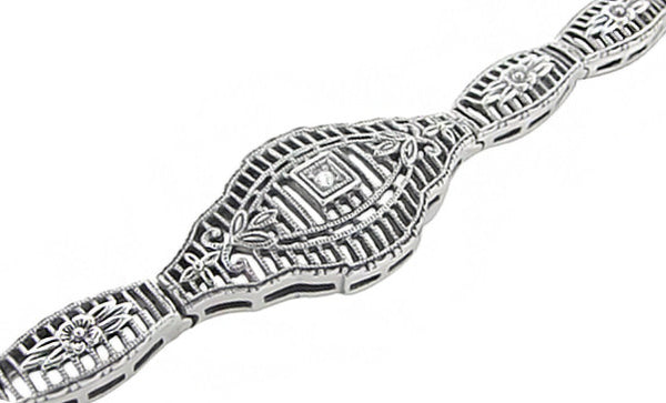 Vintage Style Art Deco Floral Filigree Diamond Bracelet in Sterling Silver