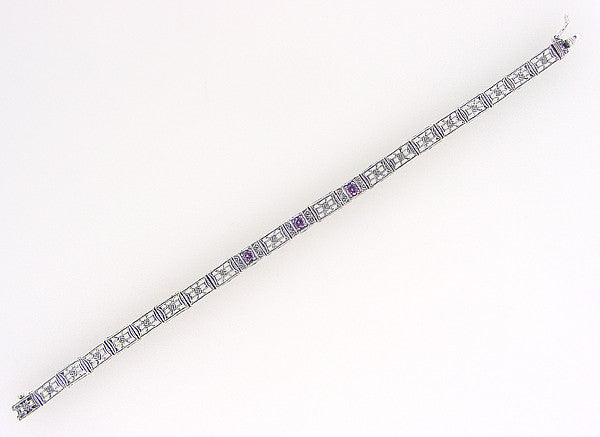 Art Deco Filigree Straightline Amethyst Bracelet in Sterling Silver - Item: SSBR8 - Image: 2